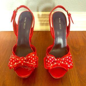 Red & white polka dot Nine West heels